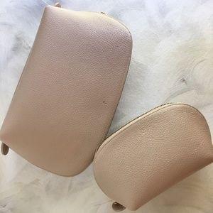 Cuyana Leather Travel Case set, blush